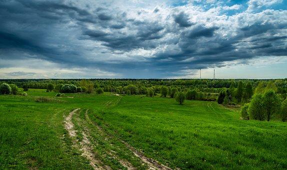 Landscape, Road, Sky, Clouds, Field, Trees