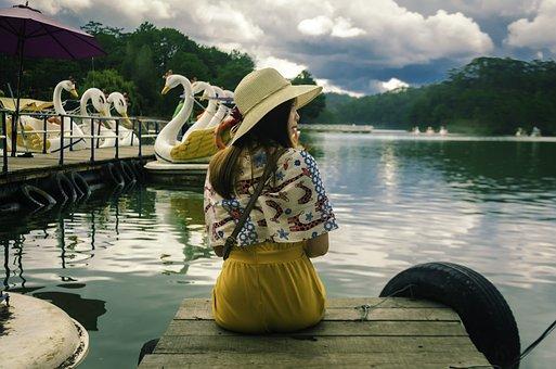 Girl, Lake, Women, Vietnam, Nice, Clouds, Scenery