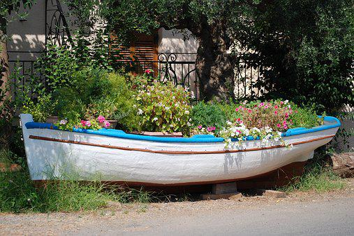 Boat, Flowers, Pots, Greece, Summer, Messinia