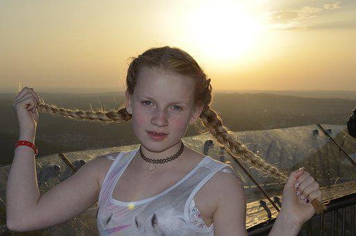 Girl, Blond, Braids, Tv Tower Stuttgart, Child, Profile