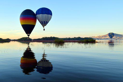 Festival, Hot Air Balloon, Reflection, Lake, Pond