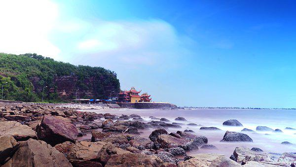 Sea, Temple, Sky, Landmark, Landscape, Religion, Ocean