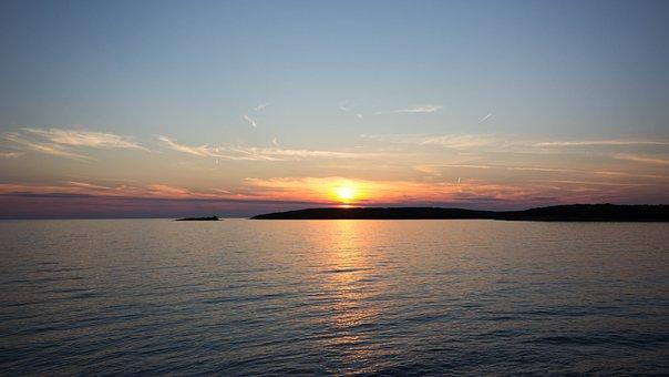 Sunset, Sea, Water, Sun, Clouds, Abendstimmung, Red