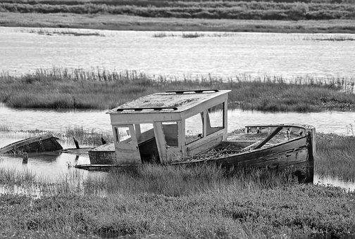Old Boat, Sea, Seascape