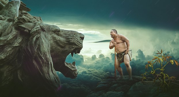 Tribal Man, Lion Head, Rain, Funny Face, Taunt, Plant