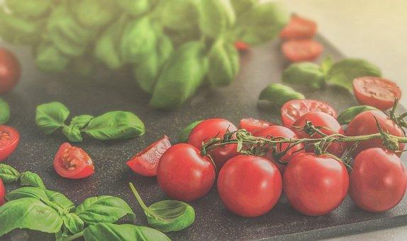 Tomatoes, Basil, Food, Tomato, Italian, Vegetable