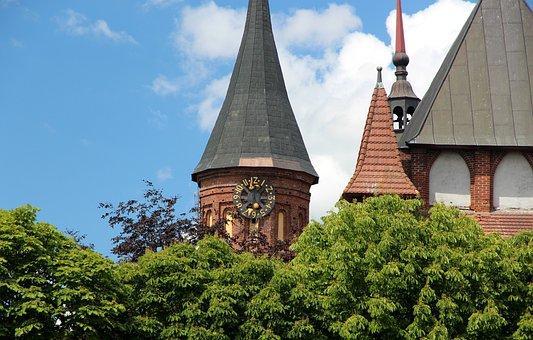Tower, Clock, Cathedral, Church, Brick, Summer, Bright