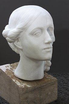 Head, Woman, Marble, Portrait, Transience, Beauty