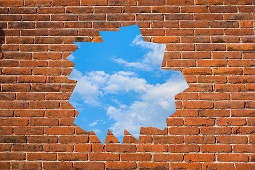 Freedom, Wall, Sky, Broken, Open, Liberty, Escape