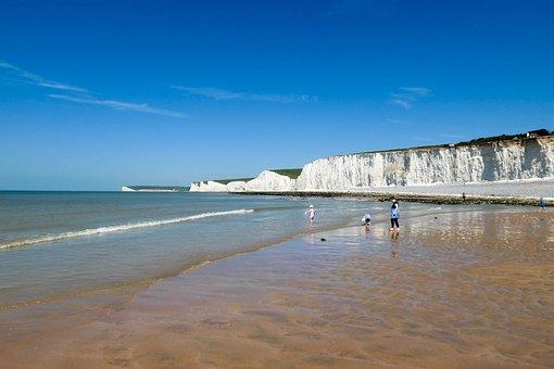Beach, White Cliffs, White, Sand, Shore, Shoreline