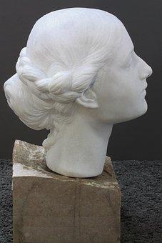 Head, Woman, Marble, Portrait, Schopf, Beauty