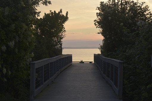 Bridge, Shore, Sunset, Sky, Evening, Beach