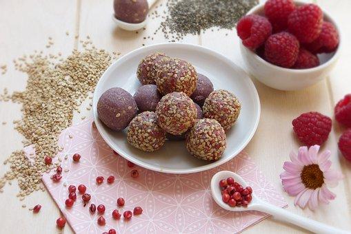 Candy, Muesli, Balls, Raspberries, Sesame, Red Pepper