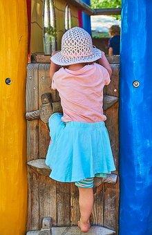 Children, Playground, Climb Up, Child, Girl, Play