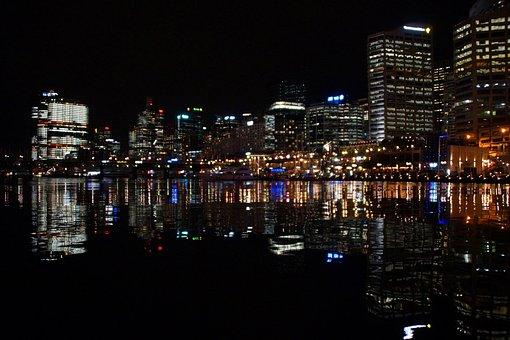 Sydney, Australia, Darling Harbour, Port, Night