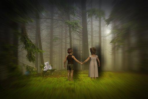 Children, Forest, Sunset, Design, Photoshop, Nature