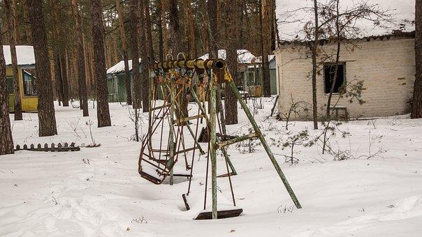 Playground, Swing, Camp, Children, Snow, Exclusion Zone