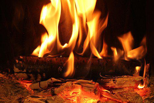 Fire, Flames, Burning Firewood, Glow, Hot, Fireplace
