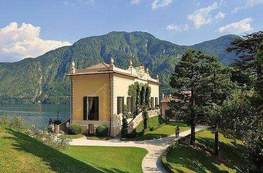 Lake, Villa, Garden, Park, Italy, Water, Ancient