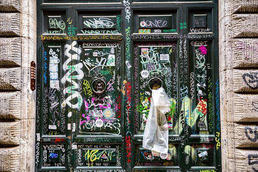 Door, Tag, Graffiti, Graffitti, Dirty, Sign, Grunge