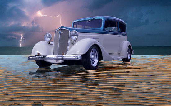 Lightning, Beach, Hot Rod, Vintage Car, Reflection