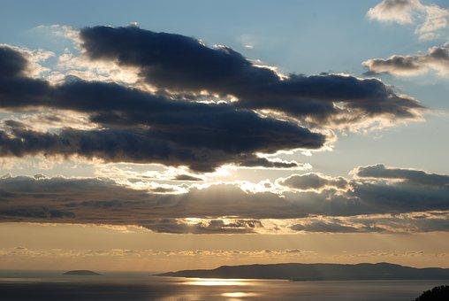 Sunset, Sea, Clouds, Messinia, Messinian Bay, Greece