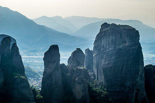 Meteora, Greece, Monastery, Landscape, Scenery, Cliff
