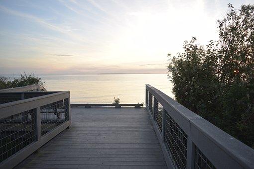 Bridge, Shore, Sunset, Water, Sky, Sea, Summer, Beach