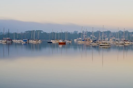 Morning, Boat, Landscape, Water, Calm, Tranquil, Ship
