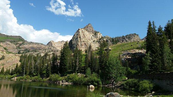 Peak, Sundial Peak, Lake, Alpine Lake, Sky, Clouds