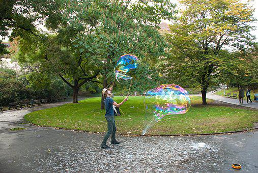 Soap Bubbles, Park, Big Bubbles, Circus, Prague