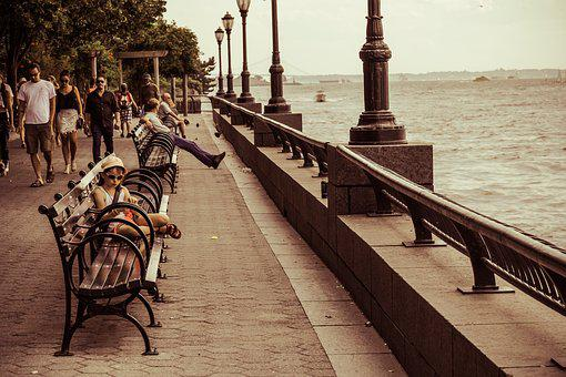 Waterfront, Child, Park Bench, City, Urban