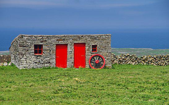 Ireland, Sky, Blue, Red, Stone House, Wagon Wheel