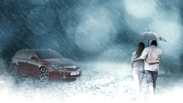 Rain, Enjoy, Water, Weather, Season, Girl, Attractive