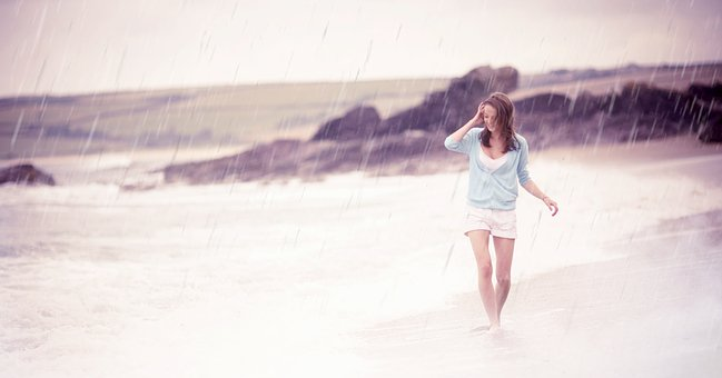 Rain, Enjoy, Beach, Water, Weather, Season, Girl