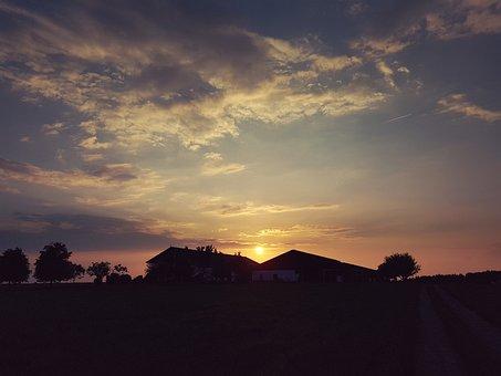 Abendstimmung, Sunset, Sky, Sun, Evening Sky, Clouds