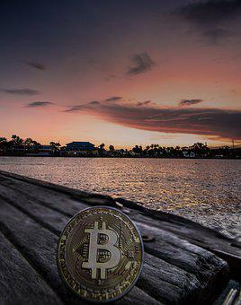Cryptocurrency, Concept, Sunset, Bitcoin, Blockchain