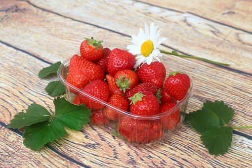Strawberries, Fruit, Red, Leaves, Harvest