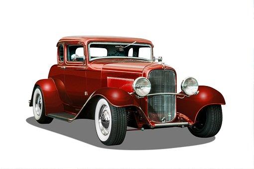 Vintage Car, White Background, Hot Rod, Red Color