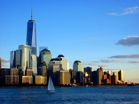 New York, Sailing, America, Skyline, North America