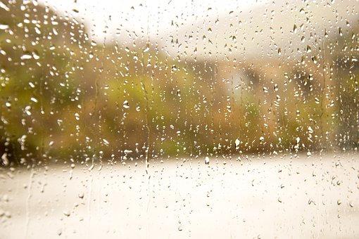 Rain, Glass, Drops