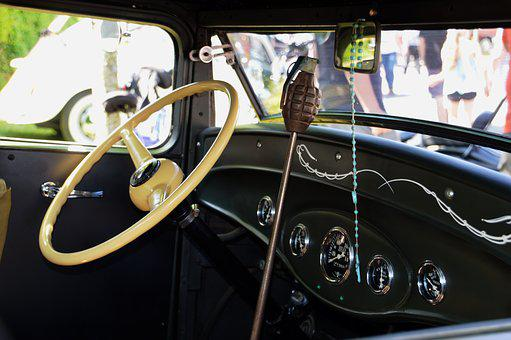 Car, Retro, Vintage, Steering Wheel, Lever, Interior