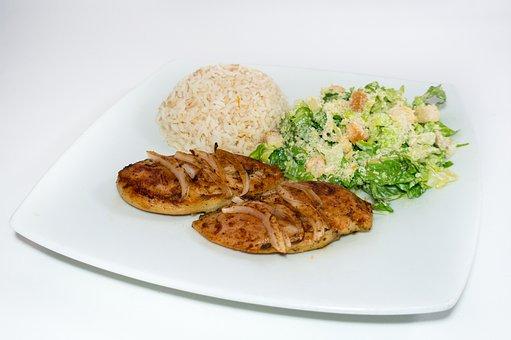 Rice, Caesar Salad, Grilled Chicken, Chicken With Onion