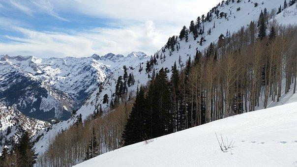 Utah, Mountain, Winter, Slope, Ski, Sky, White, Blue