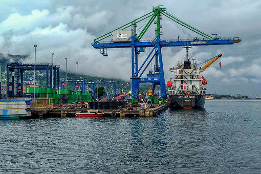 Ship, Cargo, Port, Crate, Boxed, Ambon, The Sea