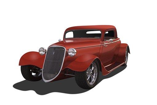 Vintage Car, White Background, Hot Rod, Orange Color