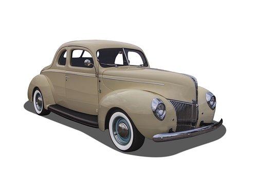 Vintage Car, White Walls, White Background, Hot Rod