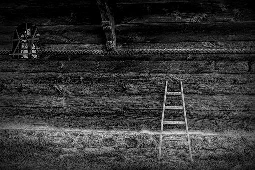 Ladder, Wood, Design, Vintage, Wall, Old, Space