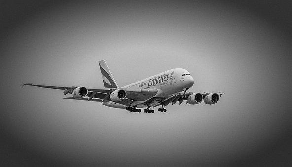 Aircraft, Jet, Landing, Airbus, A380, Copenhagen