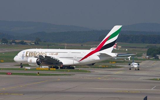 Emirates, Airbus A380, Aircraft, Airport, Zurich, Zrh
